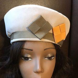 Vintage Bone Velvet Hat